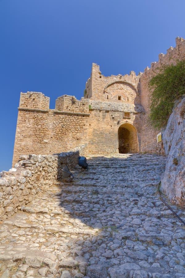 acrocorinthslott greece royaltyfria bilder