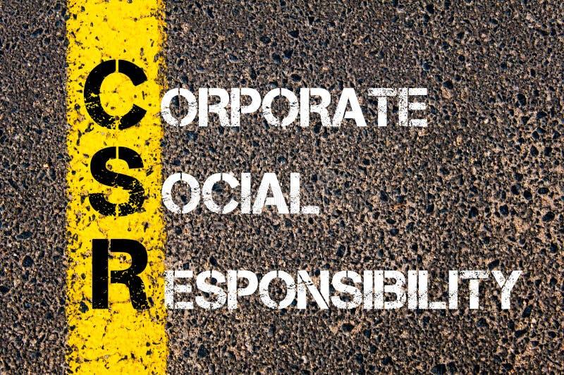 Acroniem CSR - Collectieve Sociale Verantwoordelijkheid stock foto