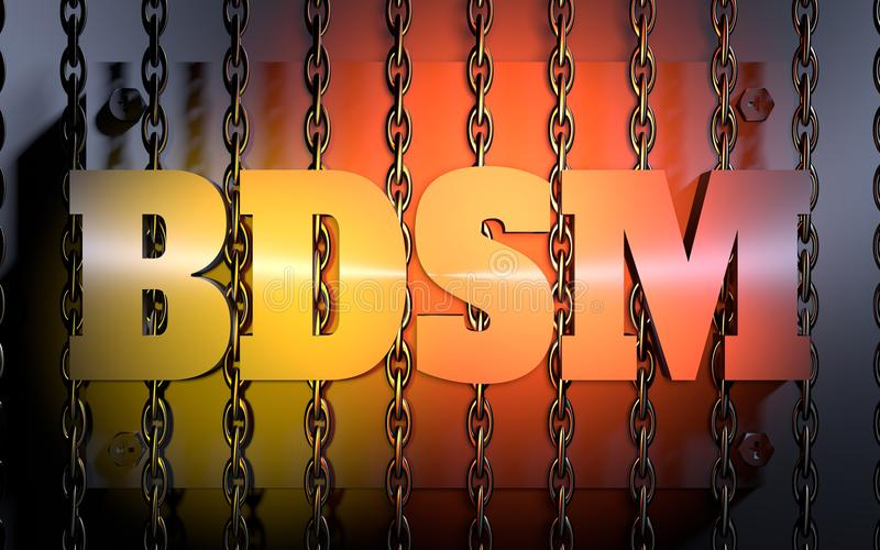 Concept acronym illustration. Acronym BDSM - Bondage, Dominance, Sadism amd Masochism. 3D rendering. Orange gradient light vector illustration