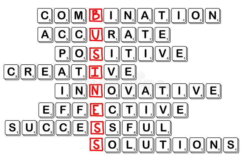 acronym concept of business -combinative,accura te,positive,creativ e,innovative,effect ive,cuccessful,solu tions stock illustration