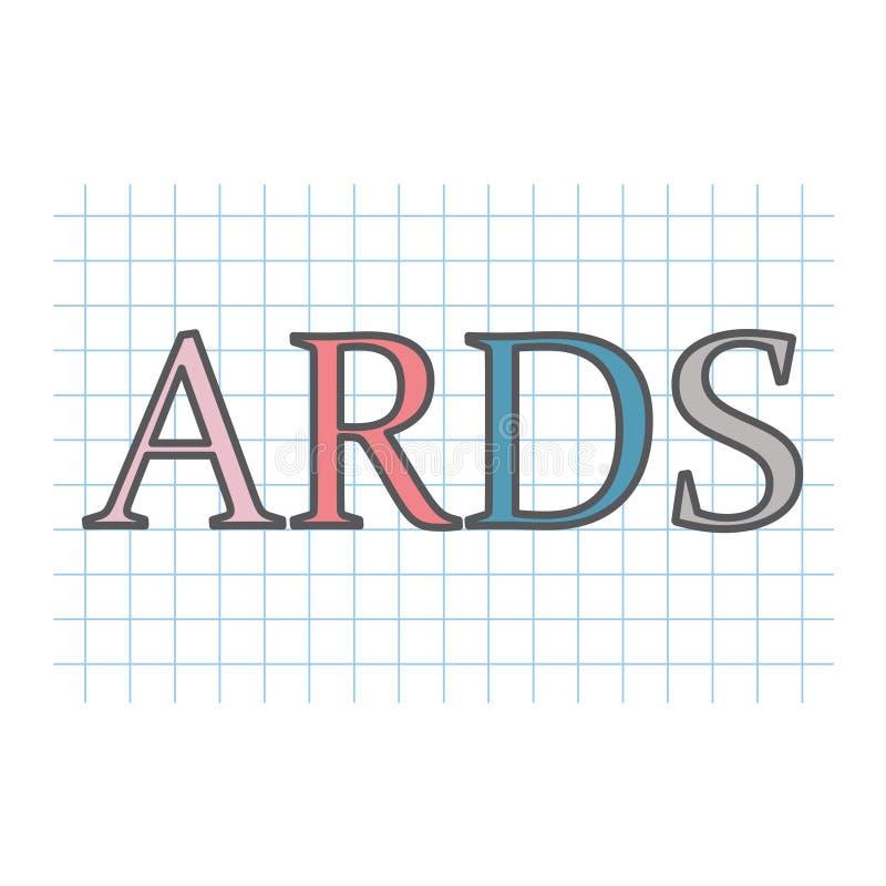 Acronyme aigu de syndrome de détresse respiratoire d'ARDS écrit sur le pape à carreaux illustration de vecteur