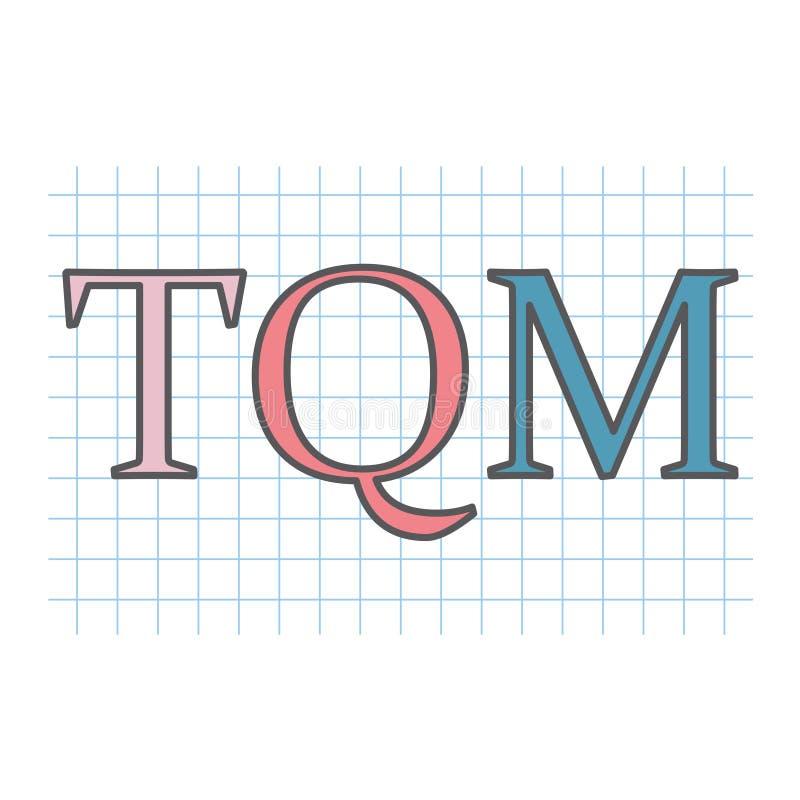 Acronyme de gestion de la qualité de total de GIQ sur la feuille de papier à carreaux illustration libre de droits