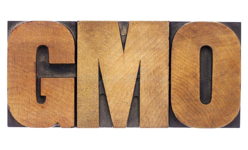 Acronyme de GMO dans le type en bois images libres de droits