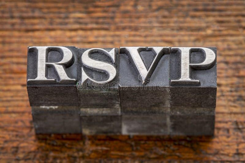 Acronyme de Rsvp dans le type en métal photo stock