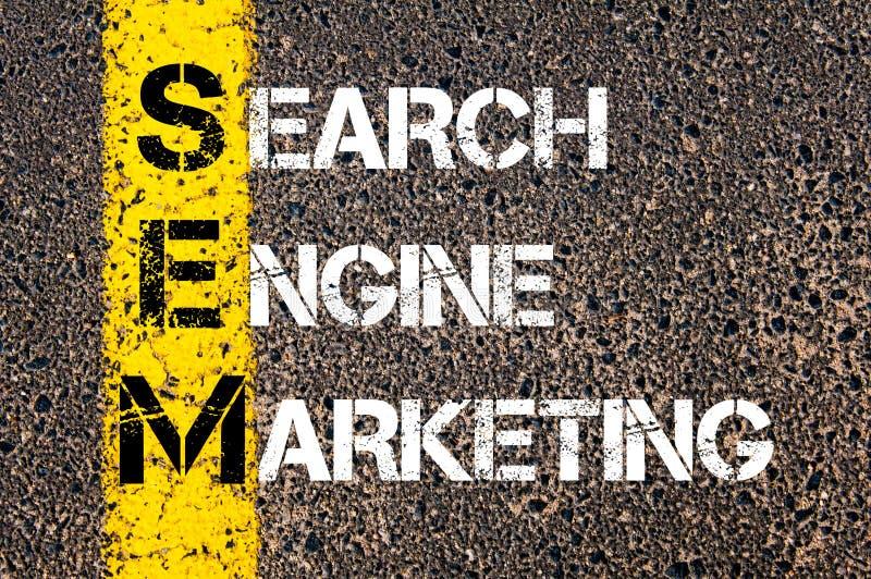 Acronyme SEM - vente de moteur de recherche image stock