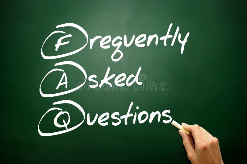 Acronyme tiré par la main de la foire aux questions (FAQ), affaires Co photos libres de droits