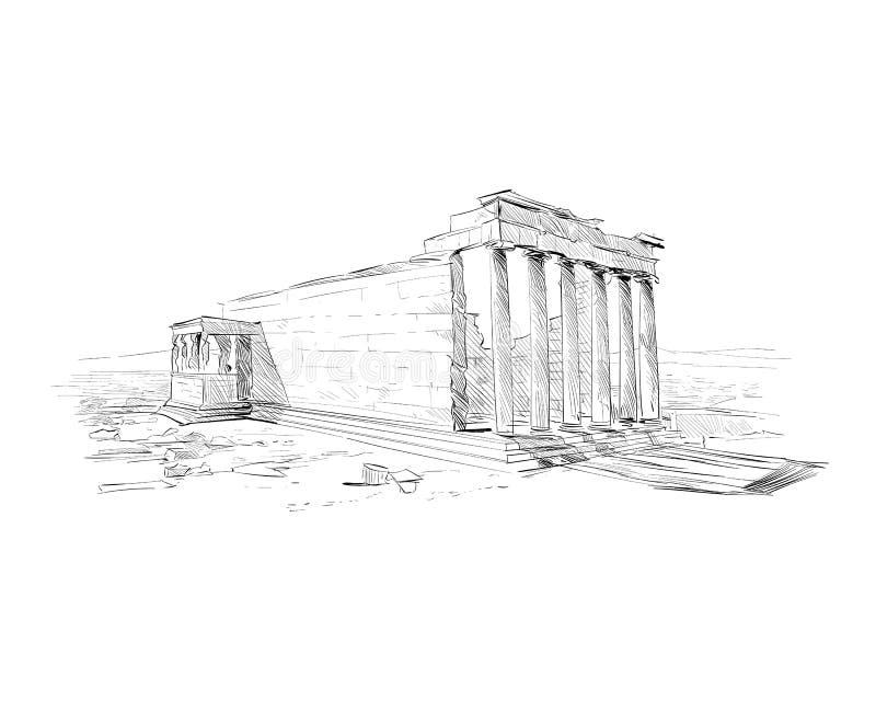 Acropole Athènes Erechtheum athènes La Grèce Croquis tiré par la main Illustration de vecteur illustration de vecteur