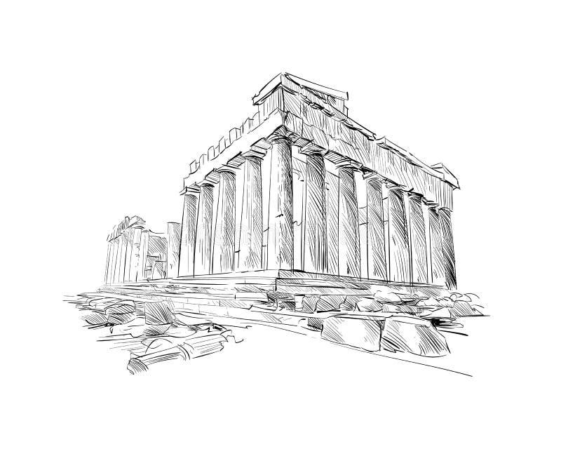 Acropole Athènes Le parthenon athènes La Grèce Croquis tiré par la main Illustration de vecteur illustration de vecteur