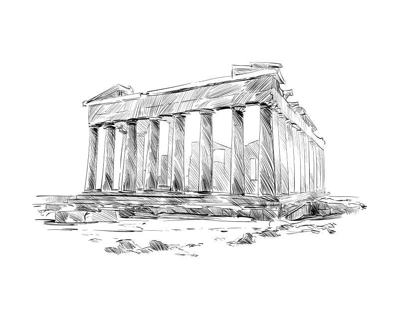 Acropole Athènes Le parthenon athènes La Grèce Croquis tiré par la main Illustration de vecteur illustration libre de droits