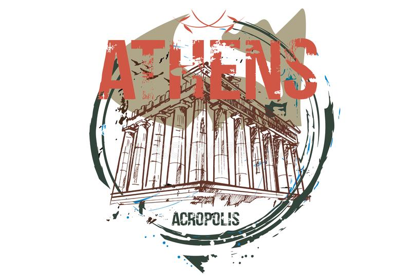Acropole Conception de ville d'Athènes, Grèce illustration stock