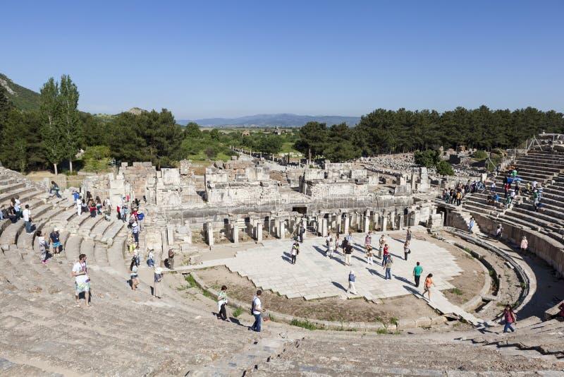 Acropole de Pergamon La Turquie Les ruines du temple de Trajan photographie stock