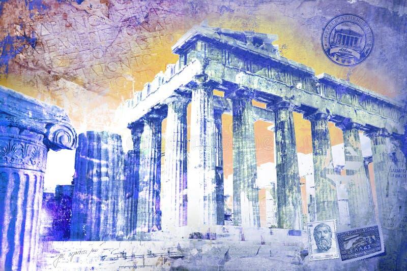 Acropole, Grécia Twirl vermelho de Digitas art imagens de stock royalty free
