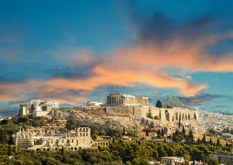 Acropoli del Partenone a Atene Grecia fotografie stock libere da diritti