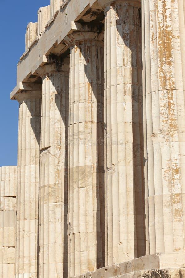 Acropoli di Atene Colonne del Partenone La Grecia fotografie stock