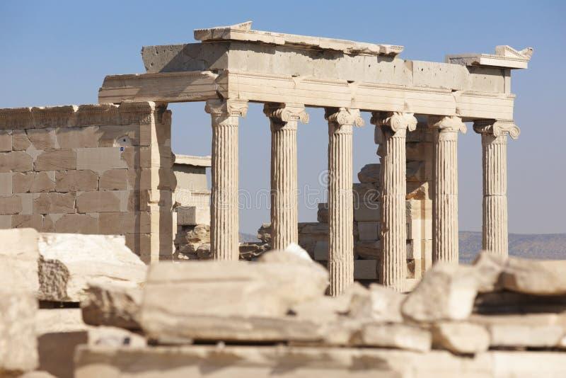 Acropoli di Atene Colonne di Erechtheion La Grecia fotografia stock