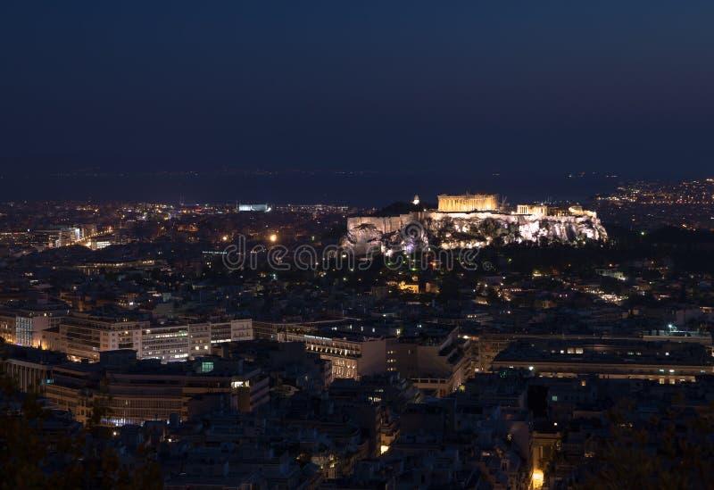 Acropoli di notte della Grecia Atene immagini stock libere da diritti