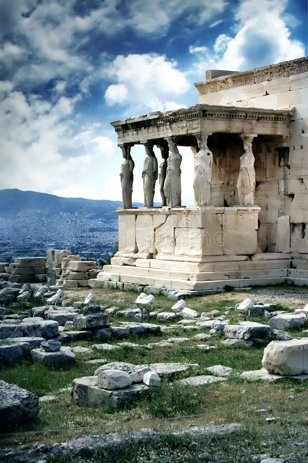Acropolis. Caryatids on the famous acropolis of athens royalty free stock photography