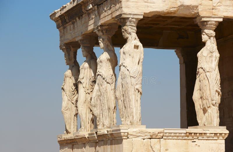 Acropolis of Athens. Caryatids columns. Greece. Horizontal royalty free stock image