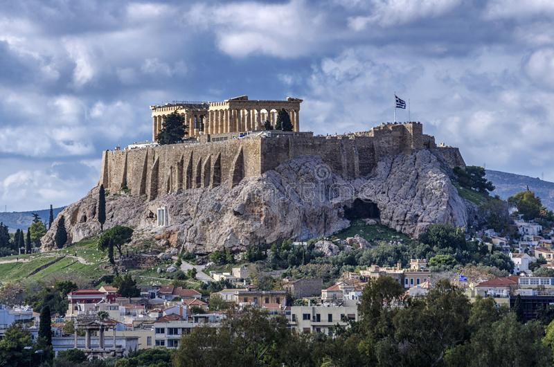 The Acropolis of Athens city in Greece with the Parthenon Temple dedicated to goddess Athena. As seen from the Panathenaic Stadium Kallimarmaro. Scenic view royalty free stock photo