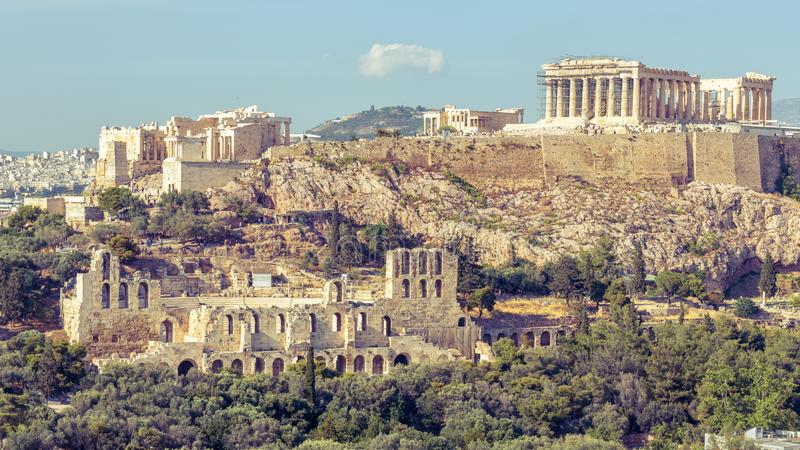 Acropolis of Athens close-up, Greece. It is top landmark of Athens. Scenic view of famous remains of ancient Athens city stock image
