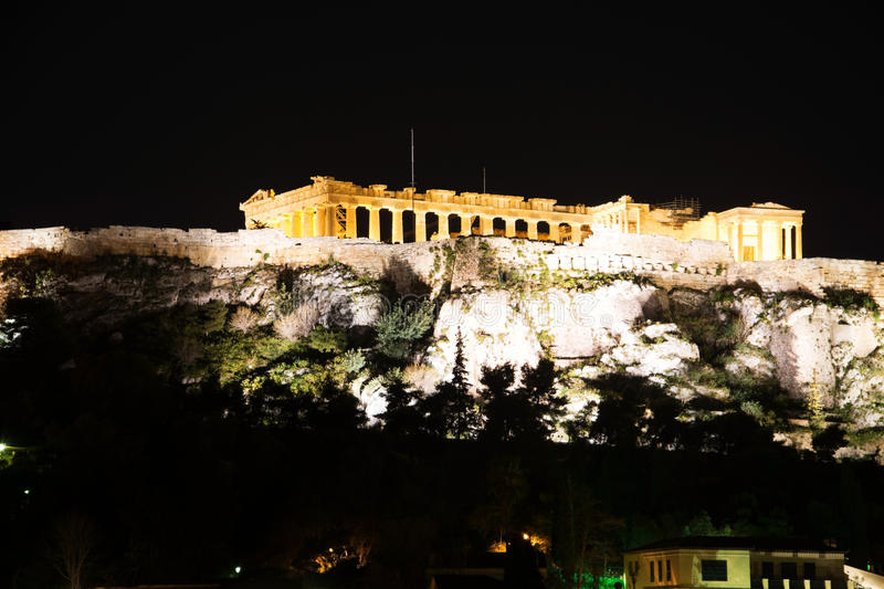 Acropolis of Athens, Geece. The Acropolis of Athens is an ancient citadel located on a high rocky outcrop above the city of Athens. The Acropolis is a World royalty free stock image