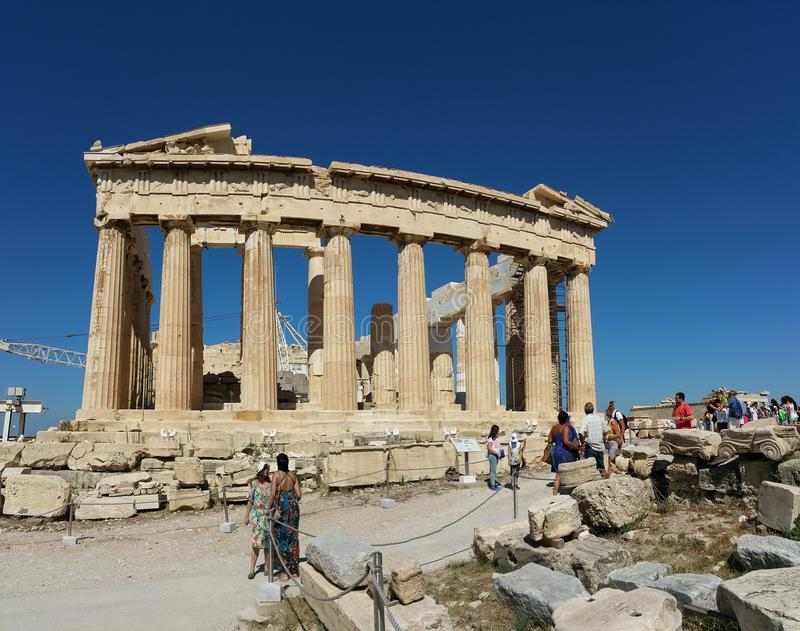 Acropolis of Athens. The greatest and finest sanctuary of ancient Athens, dedicated primarily to its patron, the goddess Athena, dominates the centre of the stock images