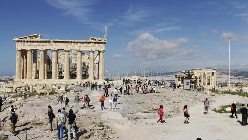 The Acropolis in Athens, Greece. ATHENS, GREECE – MAY 1, 2014. View of the Acropolis in Athens with Parthenon and Erechtheum. Panoramic view royalty free stock photo
