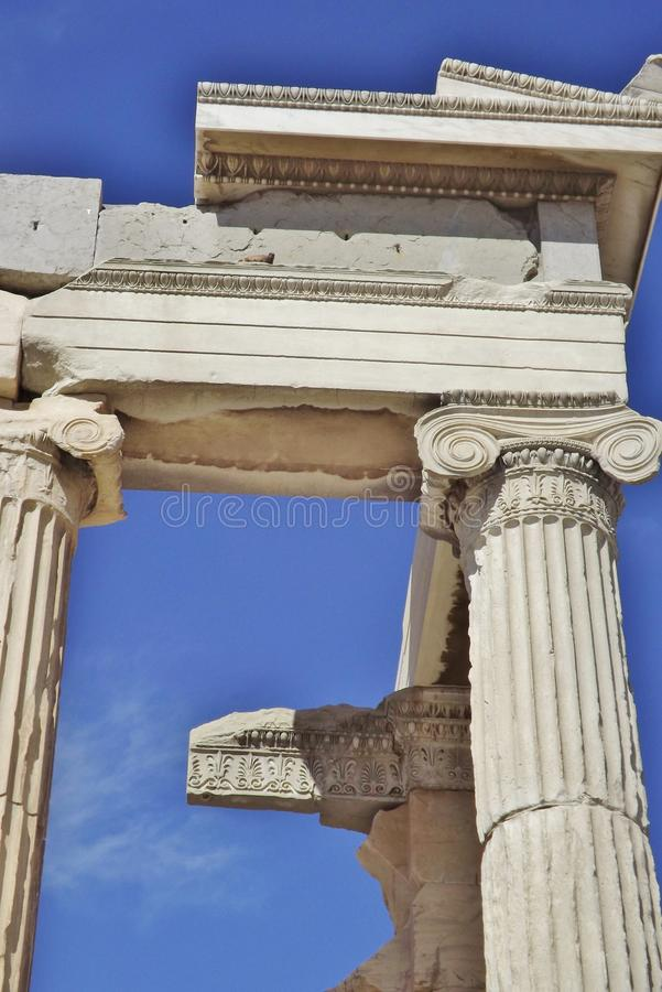 The Acropolis in Athens, Greece. Detail. The Acropolis in Athens, Greece. Detail of the Parthenon: columns and capitals stock photos