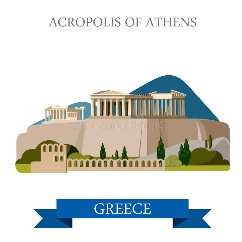 Acropolis Athens Greece flat vector attraction sight landmark. Acropolis of Athens ancient monument in Greece. Flat cartoon style historic sight showplace stock illustration