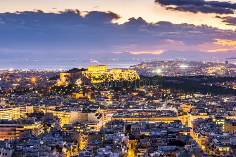 Acropolis of athens at night stock photos