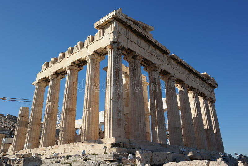 Acropolis columns, parthenon temple,athens stock photography