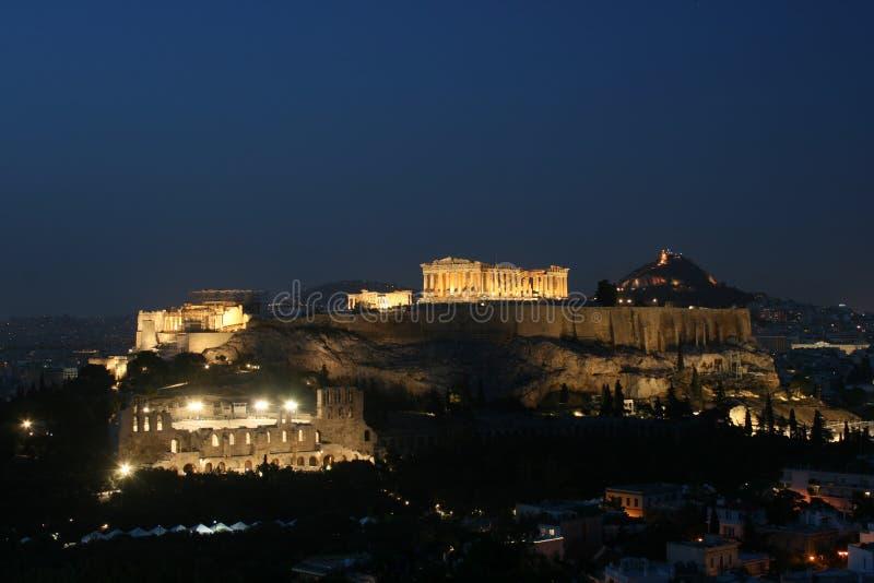 Acropolis da noite imagens de stock royalty free