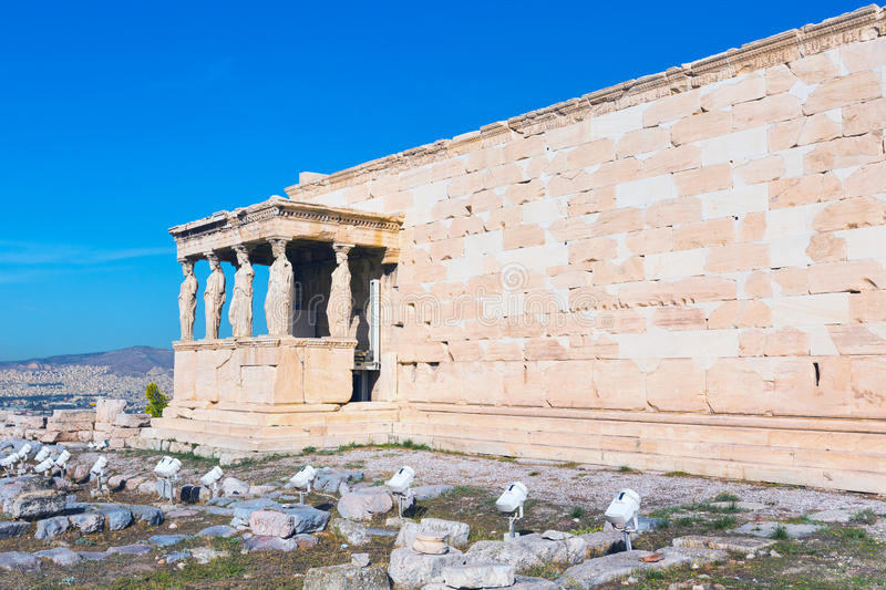 Acropolis, Erechtheum Temple in Athens, Greece. And blue sky royalty free stock images