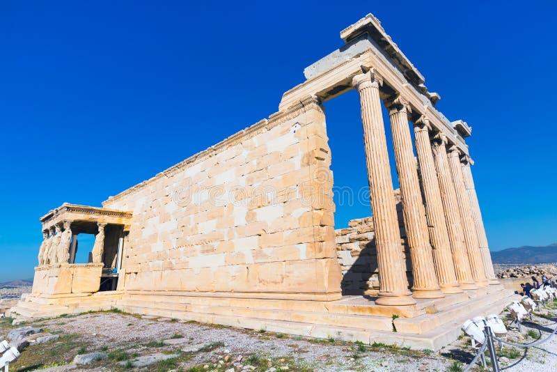 Acropolis, Erechtheum Temple in Athens, Greece. And blue sky royalty free stock photos