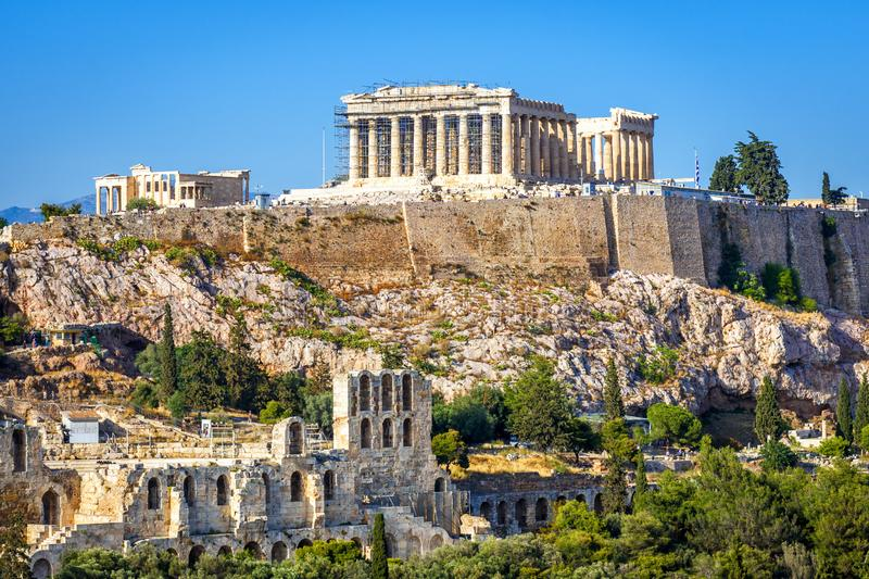 Acropolis hill with Parthenon temple, Athens, Greece royalty free stock image