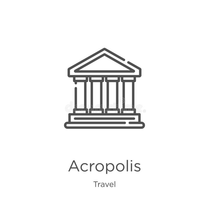 Acropolis icon vector from travel collection. Thin line acropolis outline icon vector illustration. Outline, thin line acropolis. Acropolis icon. Element of stock illustration