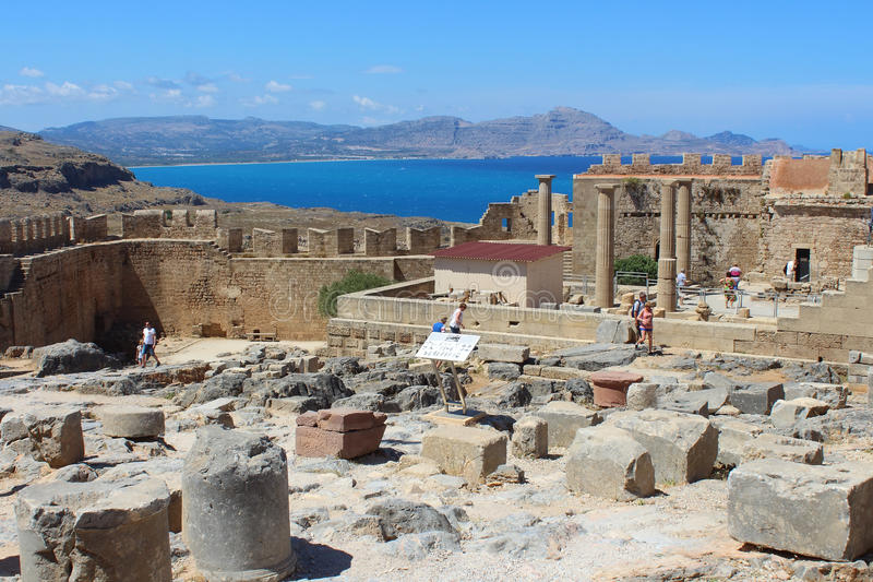 Acropolis of Lindos, Rhodes royalty free stock photography