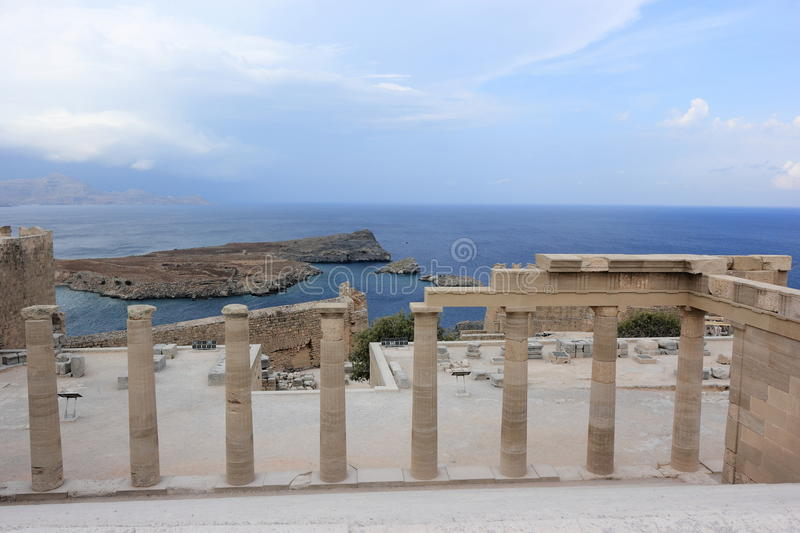 Acropolis of Lindos. Rhodes, Greece. Above the modern town rises the acropolis of Lindos, a natural citadel which was fortified successively by the Greeks, the royalty free stock image