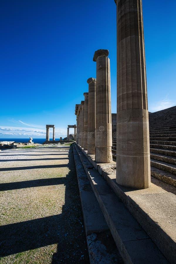 Acropolis of Lindos, Rhodes, Greece. Acropolis of Lindos, doric coloums of the ancient Temple of Athena Lindia the IV century BC, Rhodes, Greece stock image