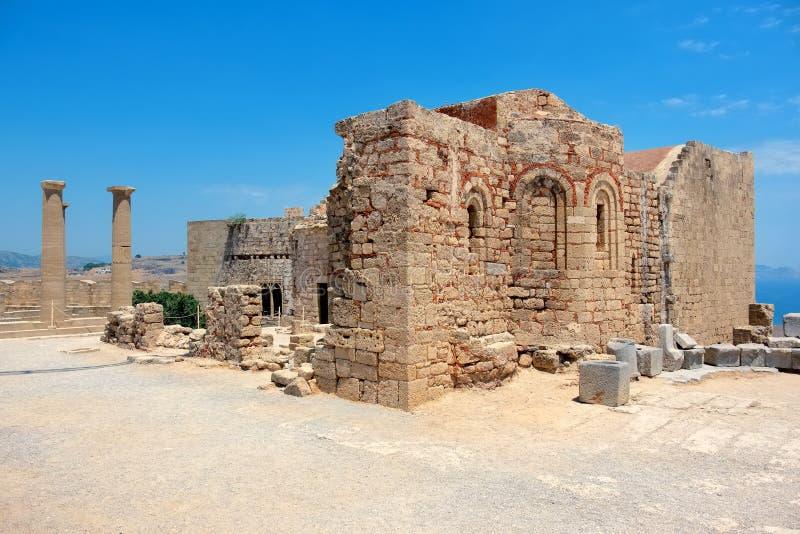 Acropolis of Lindos. Rhodes, Greece. Church of Ayios Ioannis in the Acropolis. Lindos, Rhodes, Greece stock photo