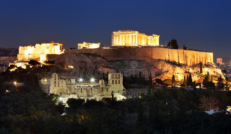 Acropolis - Parthenon of Athens at dusk time, Greece royalty free stock photography