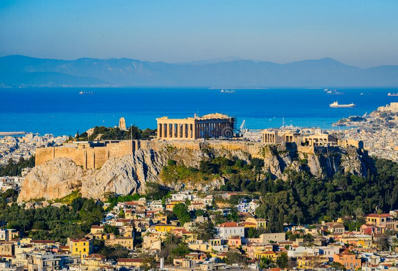 Acropolis with the Parthenon in Athens stock photography