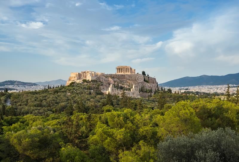 Acropolis with Parthenon and the Herodion theatre. View from the hill of Philopappou, Athens royalty free stock photos