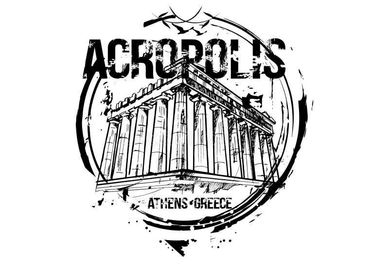 Acropolis Projeto da cidade de Atenas, Grécia ilustração do vetor