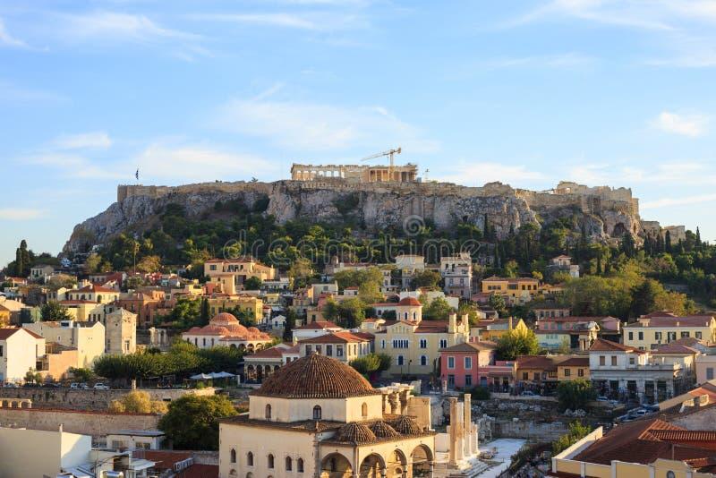 Acropolis rock and Monastiraki. Athens, Greece. royalty free stock photography