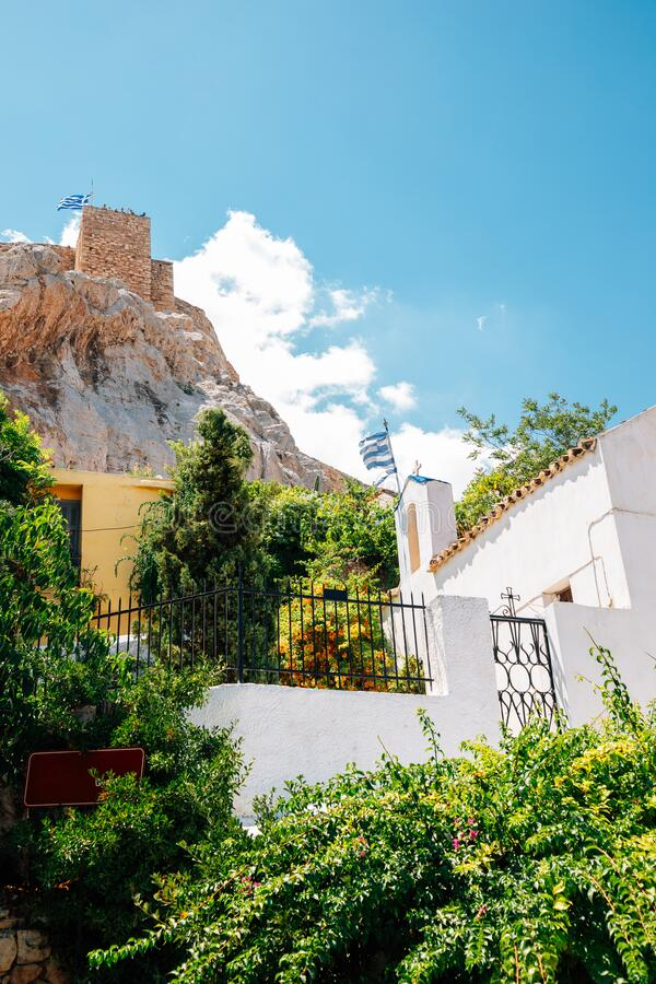 Acropolis ruins and Plaka district in Athens, Greece. Europe stock image