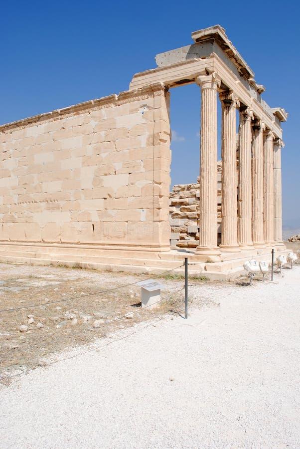 Acropolis, templo velho de Athena fotografia de stock royalty free