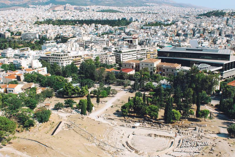 Acropolis, Theater of Dionysos in Athens, Greece stock photo