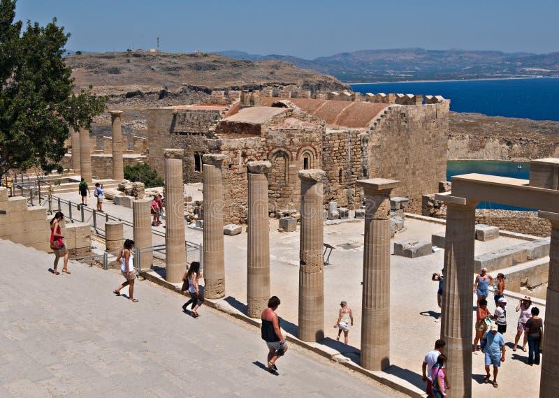 acropolislindos arkivbild