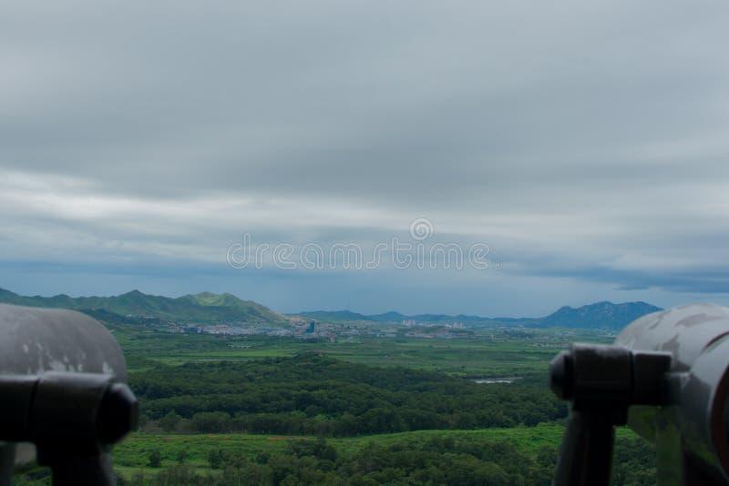 Across the DMZ. Looking across the DMZ into North Korea royalty free stock photography